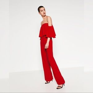 ZARA RED OFF-THE-SHOULDER JUMPSUIT Size XS